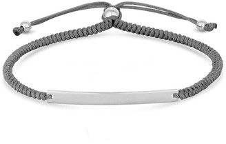 Simply Silver Sterling Silver Personalised Engravable Bar Adjustable Grey Toggle Bracelet