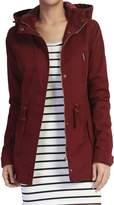 TheMogan Women's Washed Twill Hooded Utility Anorak Jacket, Burgundy, S