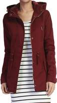 TheMogan Women's Washed Twill Hooded Utility Anorak Jacket, Olive, 3XL