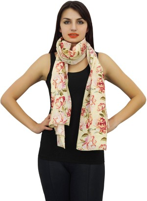 Phagun Cream 100% Cotton Lightweight Shawl Scarves Women Long Sarong Stole Wrap Floral Print Scarf