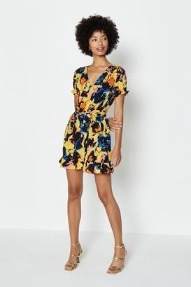 Coast Wrap Ruffle Hem Short Tea Dress