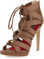 Charles Jourdan Jackie Leather Lace-Up Sandal, Tan