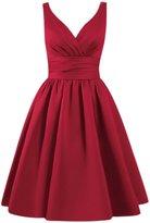 Azbro Women's Simple V Neck A-line Bridesmaid Dress, Grey L
