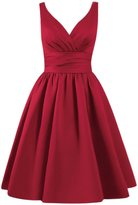 Azbro Women's Simple V Neck A-line Bridesmaid Dress