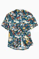 Urban Outfitters Mushroom Print Rayon Short Sleeve Button-Down Shirt