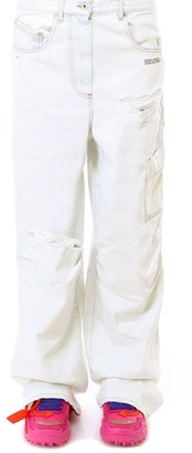 Off-White Off White Distressed Cargo Jeans