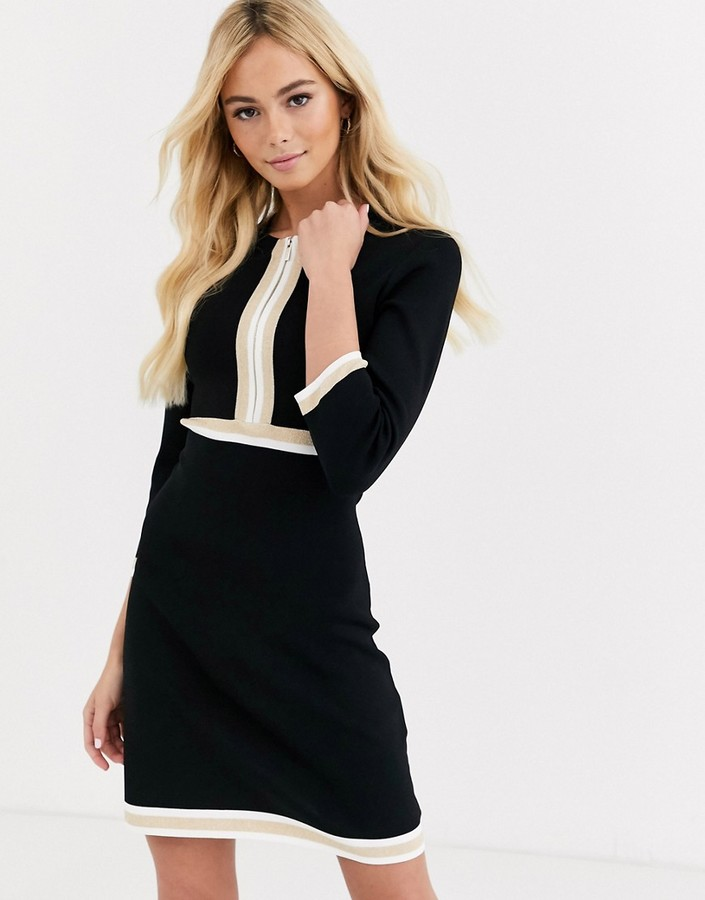 Morgan contrast panelled knitted dress in black