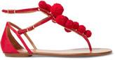 Aquazzura Pompom-embellished Raffia Sandals - Red