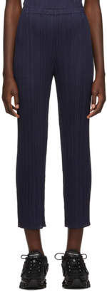 Pleats Please Issey Miyake Navy Straight Pleated Trousers