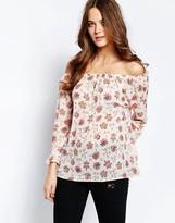 Ichi Carina Floral Print 3/4 Sleeve Top