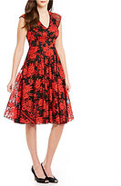 Eva Franco Marcel Embroidered Cap Sleeve V-Neck Midi Dress