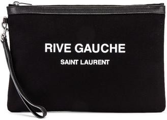 Saint Laurent Monogramme Pouch in Black & White | FWRD
