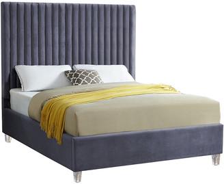 Verlaine Candace Grey Velvet Bed