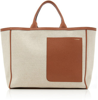 Valextra Shopping Large Leather-Trimmed Canvas Tote
