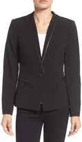 Ivanka Trump Faux Leather Trim Suit Jacket