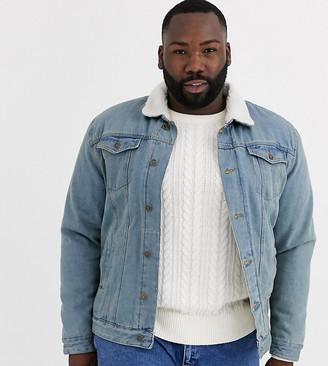 Brave Soul Plus borg lined denim jacket in blue