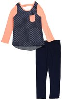 "Famous Pink Big Girls' ""Spotted Chambray"" 2-Piece Outfit"