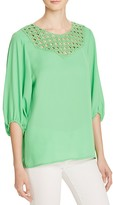 Chaus Three-Quarter Sleeve Eyelet Top