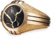 David Yurman Men's Southwest 18k-Gold Signet Ring w/ Black Quartz Inlay