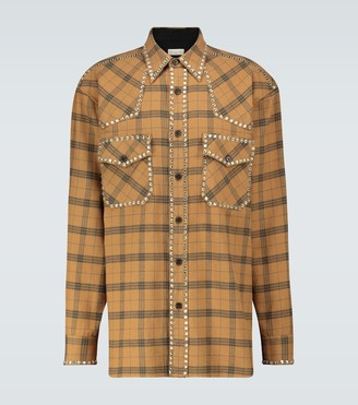 Dries Van Noten Studded flannel overshirt