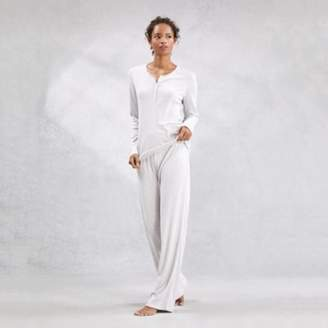 The White Company Pointelle Wide-Leg Pyjama Bottoms, Cloud Marl, Extra Small