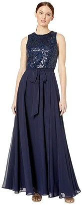 Calvin Klein Embroidered Bodice Gown (Twilight) Women's Dress