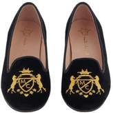 Marie Chantal Girls Velvet Slipper with MC Crest - Black