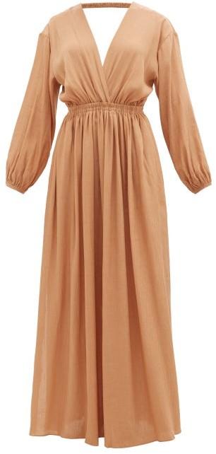 Matteau The Open Back Plunge Maxi Dress - Light Brown