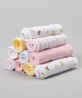 SpaSilk Pink Flower & Heart Washcloth Set