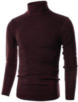 Ohoo Mens Slim Fit Flice Long Sleeve Pullover Flice Turtleneck /-M