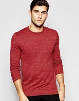Asos Crew Neck Sweater in Red Twist Cotton