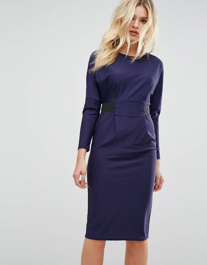 Asos Design Midi Dress With Elastic Waist Detail