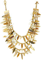 Ashley Pittman Thamani Statement Horn & Bronze Beaded Bib Necklace