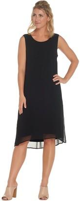 Joan Rivers Classics Collection Joan Rivers Regular Length Sleeveless Knit Dress with Chiffon Overlay