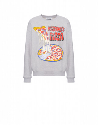 Moschino Moschinos Pizza Cotton Sweatshirt Man Grey Size 44 It - (34 Us)