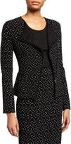 Emporio Armani Dot-Jacquard Asymmetric Zip-Front Jacket