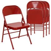 Flash Furniture Hercules Metal 4-Pack Folding Chairs in Red