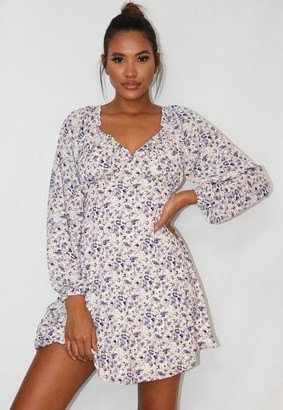 Missguided White Floral Print Milkmaid Skater Dress