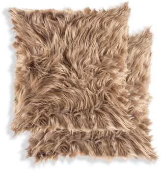 Luxe Faux Fur Belton 2-Pack Square Faux Fur Pillow Set