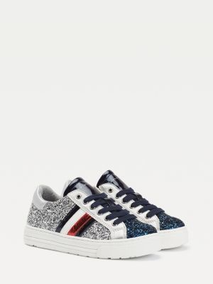 Tommy Hilfiger Glitter Lace-Up Low-Top Trainers