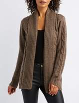 Charlotte Russe Cable Knit Open-Front Shawl Cardigan
