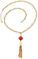 GUESS Gold-Tone Resin Stone and Tassel Pendant Necklace
