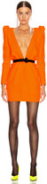 Saint Laurent Deep V Neck Long Sleeve Mini Dress in Mandarine Fluo | FWRD