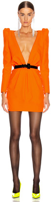 Saint Laurent Deep V Neck Long Sleeve Mini Dress in Mandarine Fluo | FWRD