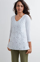 J. Jill Lace-Front V-Neck Tee