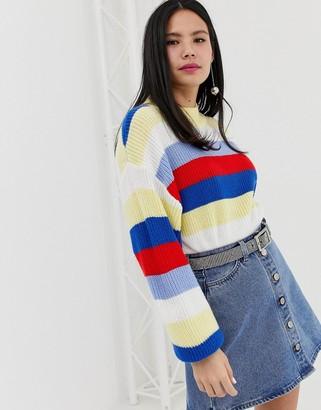 Monki colour block stripe jumper-Multi