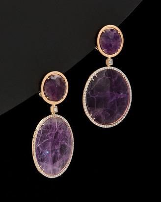 Italian Gold 14K Rose Gold 57.00 Ct. Tw. Diamond & Purple Amethyst Earrings