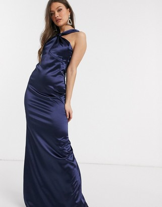City Goddess satin cowl neck maxi dress