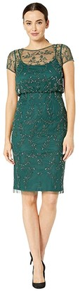 Adrianna Papell Beaded Blouson Cocktail Dress (Dusty Emerald) Women's Dress