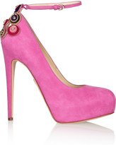Brian Atwood Zenithlux embellished suede pumps